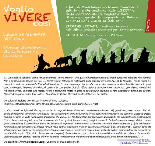 VOGLIO VIVERE COSI'- 23 gennaio 2017