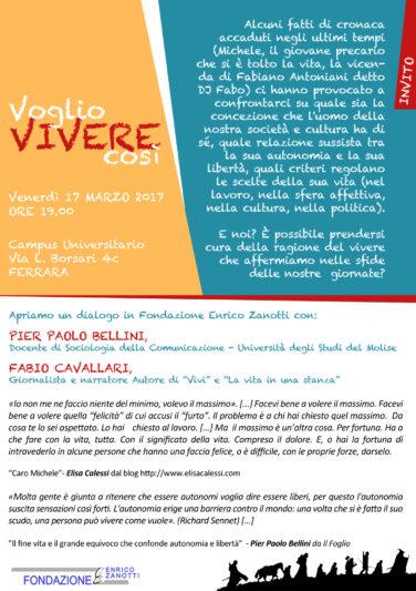 VOGLIO VIVERE COSI' – 17 marzo 2017