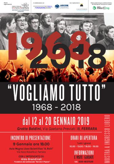 """""""Vogliamo tutto. 1968-2018""""  MOSTRA a Ferrara"""