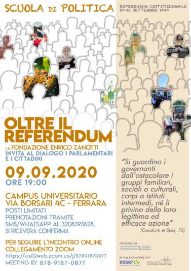 Scuola di Politica  OLTRE IL REFERENDUM – 09-09.2020